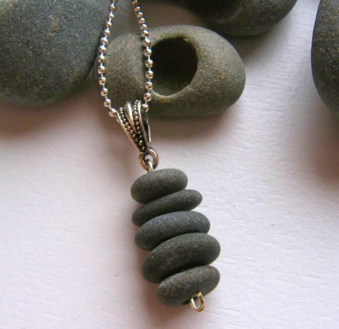 Basalt Stones Rocks : Stacked lake superior basalt zen stone necklace pendant