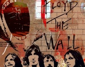 Print Pink Floyd Music poster  Birthday Gift art Mixed media  The wall brown red gold tones Wall Decor giclee