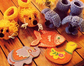 Vintage Embroidered Felt Animal Coin Purses Pattern Elephant Duck Fish Kids Pocket Sewing Pattern Bonus Crochet Animal Baby Booties Pattern
