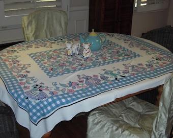 Vintage Tablecloth Pink & Blue Swiss Dancers