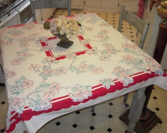 Vintage Tablecloth Sweet Branches of Cherry Blossoms