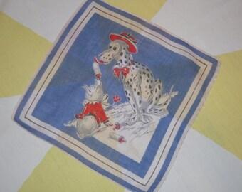 Vintage Tom Lamb Children's Hankie Dalmatian Mom Feeds Baby Pig