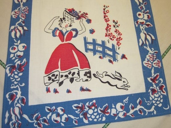 Vintage Towel Peter Rabbit Frightens Garden Girl