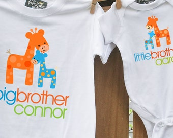 Big brother shirt, little brother shirt - matching big brother / little brother set - FUNKY GIRAFFE