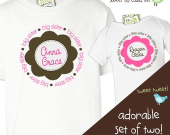 big and little sister shirts - matching sister shirts pink brown flower