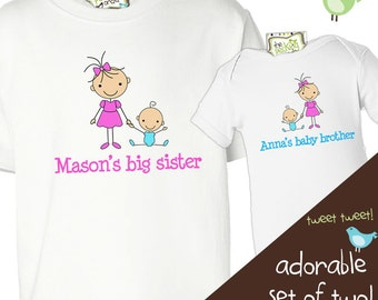 big sister little brother shirts matching sibling stick figure shirts - for any big little combination