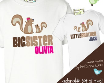big sister, little brother shirt - squirrel sibling set - matching big sister/ little brother t-shirt set