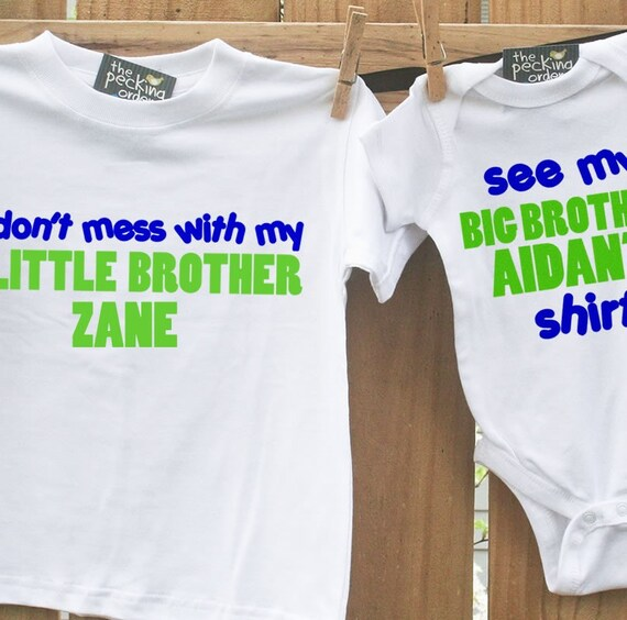 big brother shirt, little brother shirt-SET Don't Mess with My Little Brother Plain T-shirt-super cute