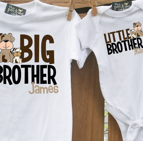big brother little brother (or sister) matching set - the puppy set (2 shirts)