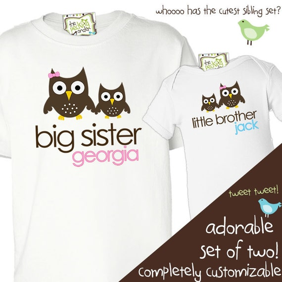 big sister little brother shirts owls or any matching sibling shirt set