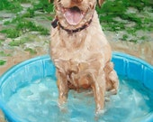 MUDDY WATERS, custom Pet Portrait Oil Painting by puci, Yellow Lab, 12x16""