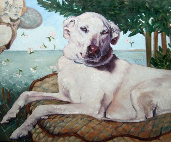 """Venus de Labrador, Dog Painting, custom Pet Portrait Oil Painting by puci, 12x16"""""""