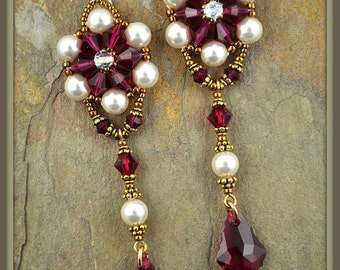 Beaded, Bead-woven Swarovski Crystal and Pearl Earrings