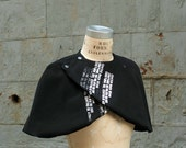 Black Cape/Women's Capes/ Women's Fashion/ Valentine's Day/ Text Capelet
