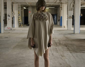 Poncho , Cape, Ruffle Capes , Khaki , Edgy Women's Outerwear