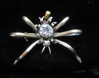 Vintage Sterling Insect Pin/Pendant with Rhinestone