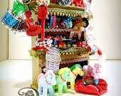 SALE  OOAK Diorama Miniature Dollhouse Santa s  Workshop Cabinet by WiLd PeArLy