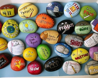 River rock handpainted POP rocks a.k.a. paper organizer paperweights