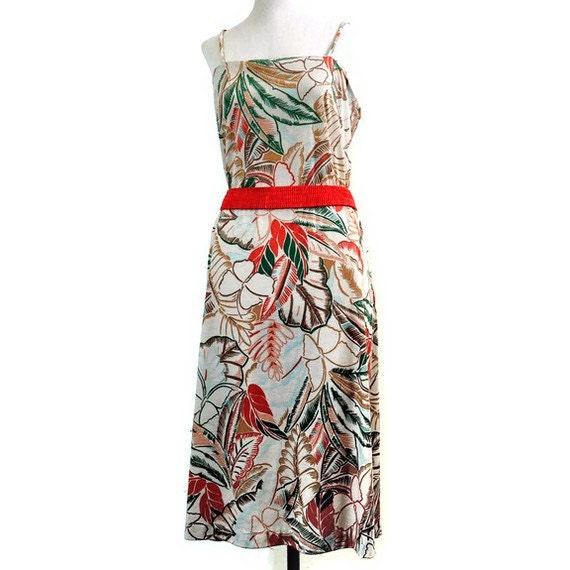 SALE 70s Hawaiian Print Cotton Spaghetti Strap Stretchy Pencil Dress