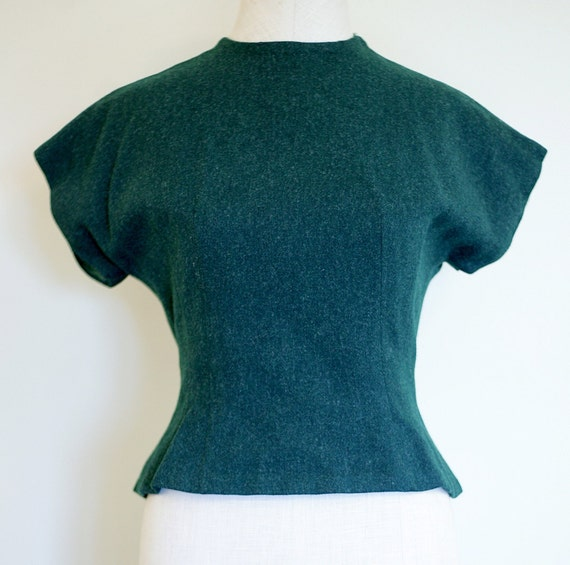40s/50s Forest Green Wool Super Fitted Blouse