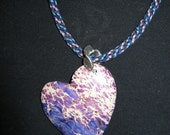 Heart Pendant in Blue & Violet, Hand-braided Cord, Sterling Silver Findings - FREE SHIPPING