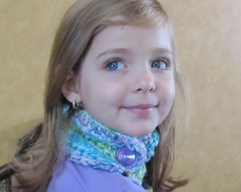 Girl's Neckwarmer, Kids's Scarf, Multi-Colored Scarf, Girls Neck Warmer, Crochet Neck Wrap, Lavender and Turquoise Neck Warmer, Button Scarf