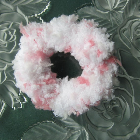Hair Scrunchies, Set of 2 Pink and White Scrunchies, Crochet Hair Bands, Ponytail Holders.