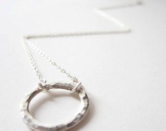 Silver Karma Necklace - Sterling Silver Circle Necklace - Endless Circle - Infinity Cirlce Necklace - Mother - 925