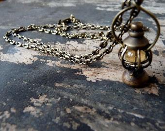 Brass Railroad Lantern Pendant 26inch long chain