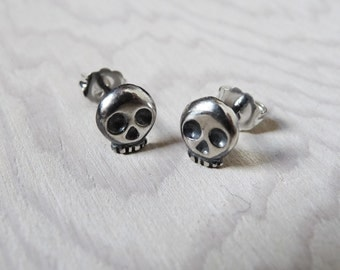 Mini Skull Stud Post Earrings Sterling Silver Handcarved