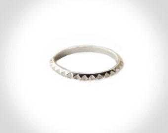 Pyramid Stud Stacking Single Ring in Sterling
