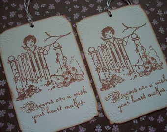 Garden themed gift tags handstamped vintage style Dreams Garden Gate Vintage Child - Set of 6