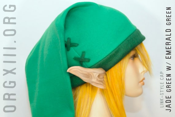 Legend of Zelda - Link cosplay cap in Kokiri green ( jade/emerald ) - hats by orgXIIIorg