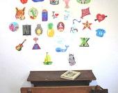 ALPHABETICA  Wall stickers fabric reusable decals -  MEDIUM