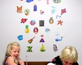 ALPHABETICA -Wall stickers fabric reusable decals  -small