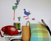 Pukeko and Fantail StickyTiny resuable fabric wall decal