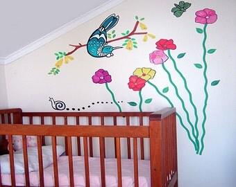 Tui bird and bold flowers wall decal – fabric wall stickers | Kiwiana wall decal | New Zealand wall decal | Garden wall decal