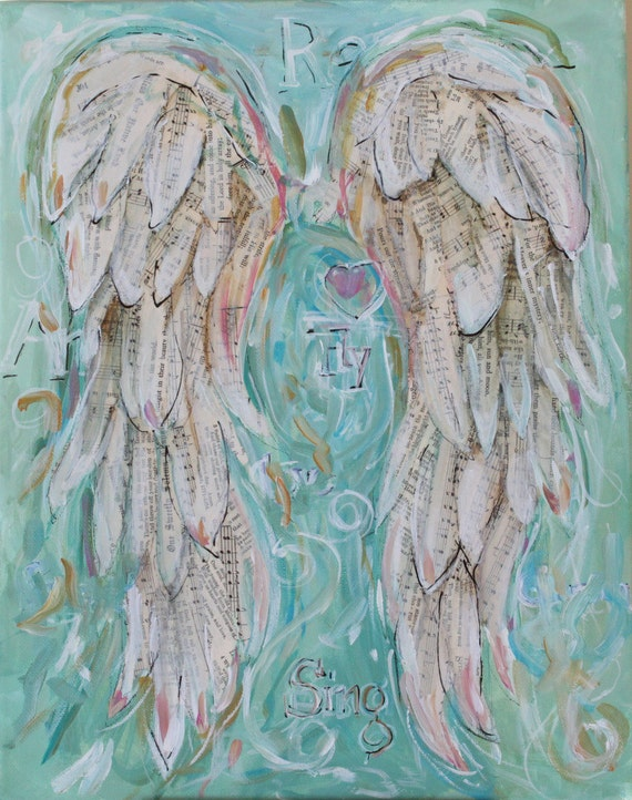Angel Wings Painting   Custom order your own special set of wings.  11 x 14 inches