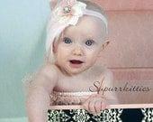 Pink Baby Feather Headband - Newborn Baby Headband - Toddler/Girl Fascinator Headband - Baby Flower Headband Photo Prop