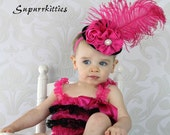 Baby Mini Top Hat Headband - Hot Pink & Black Top Hat Fascinator - Toddler/Girl Flower Hat - Photo Prop/Pageant