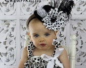 Baby Mini Top Hat - Toddler/Girl Over the Top Hat Fascinator - Black & White Polka Dot Baby Flower Headband for Pageant/Photo Prop