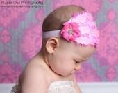 Pink Baby Feather Headband -  Newborn Baby Headband - Toddler/Girl Feather Fascinator - Curly Feather Headband Photo Prop