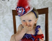 Patriotic Baby Mini Top Hat Headband Fascinator with Red, White, & Blue Lace and Satin Rosette and Feathers July 4th