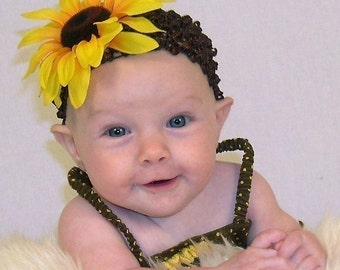 Yellow Sunflower Baby Flower Headband - Crochet Newborn/Infant Headband/Hair Clip - Todder/Grirls Photo Prop
