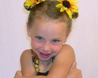 Sunflower Hair Flower Clips/Barrettes - Yellow Hair Clips - Toddler/Girl Hair Clips - Summer Fall Photo Prop