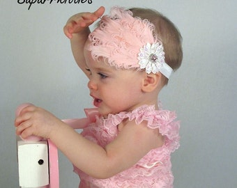 Pink Baby Headband - Curly Feather Headband with White Flower and Pink Rhinestone Toddler/Girl Photography Prop