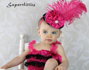 Baby Mini Top Hat Headband - Hot Pink & Black Top Hat Fascinator - Toddler/Girl Flower Hat - Photo Prop/Pageant