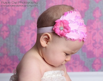 Pink Baby Feather Headband -  Newborn Baby Headband - Toddler/Girl Feather Fascinator - Curly Feather Headband Photo Prop