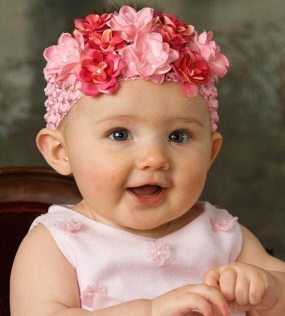 Pink Baby Flower Headband - Newborn Crochet  Headband - Infant Pink & Hot Pink Rose Flower Headband Photo Prop