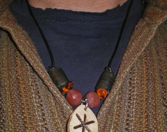 Engraved deer antler pendant with pipe stone & soapstone bead necklace